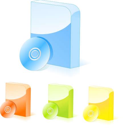 Cajas de software redondeadas multicolor con disco de cd