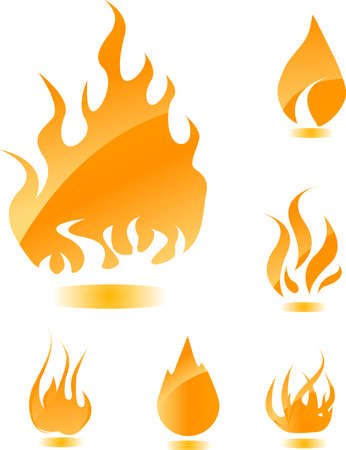 Orange glossy fire icons for your design Vector