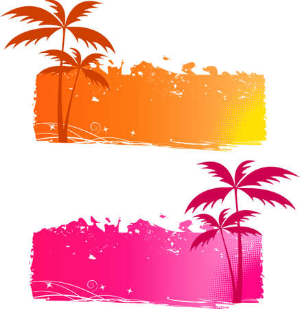 Grungy backgrounds with palm trees and halftone elements - orange and pink Stock Vector - 5446693