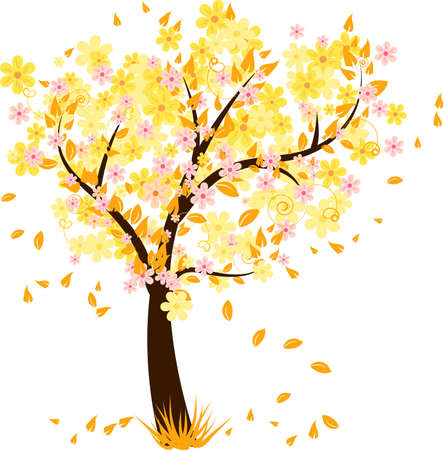 Autumn tree with falling leaves and flowers