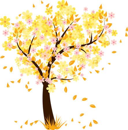 hoog gras: Herfst boom met vallende bladeren en bloemen Stock Illustratie