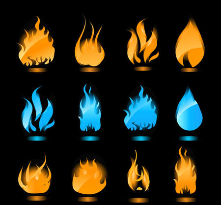 Big set of blue and orange flames with glowing. Gas flames and fire flames. Vector