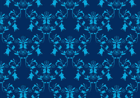 Seamless vintage beauty blue damask background Vector