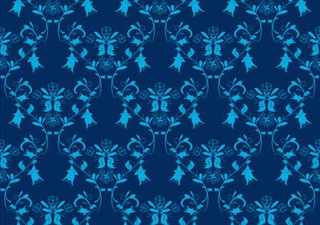 blue damask: Seamless vintage beauty blue damask background Illustration