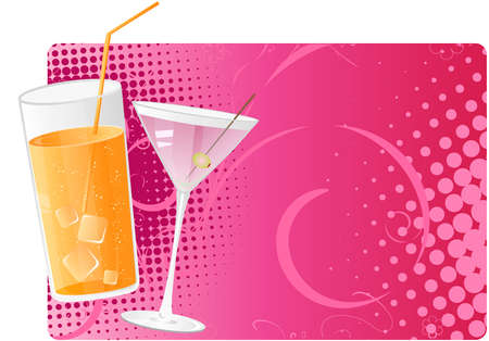 Juice and martini cocktails on pink halftone background