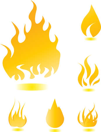 Yellow glossy fire icons for your design Vector