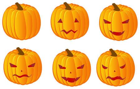 zero gravity: Vector set of six halloween pumpkins for your design