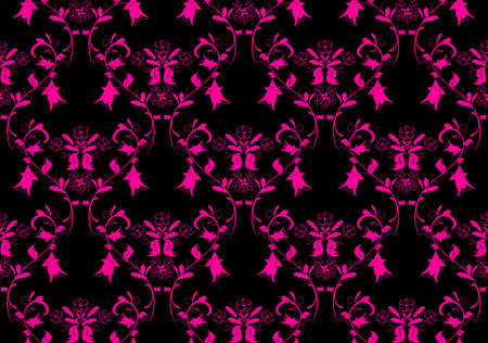 Vintage beauty dark and pink damask background. Vector