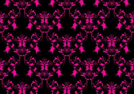 Vintage beauty dark and pink damask background. Vector