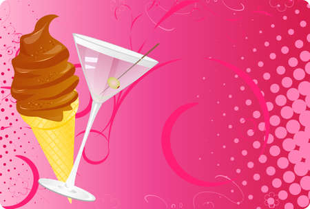 Martini and chocolate ice-cream halftone banner with swirl and flowers ornament Vector