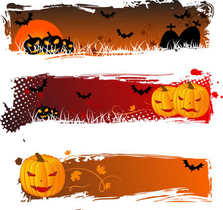 Grungy halloween banners with pumpkins for your design Illustration