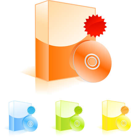 Multicolored software boxes with CD disk and discount labels Vector