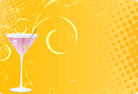 Martini glass on orange halftone background with swirl design Vector