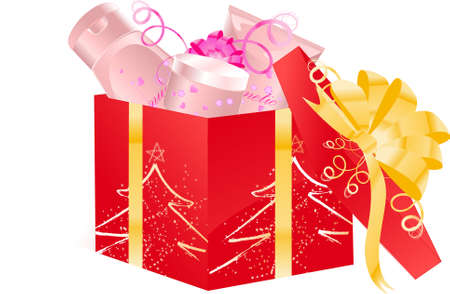 Christmas open gift box with cosmetics set Vector