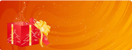 opening party: Naranja de Navidad banner con abrir el cuadro de m�gico espumoso