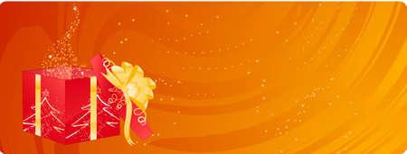 Orange christmas banner with open sparkling magic box Vector