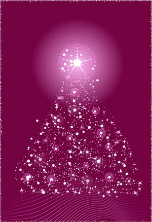 Abstract christmas tree in violet color Vector
