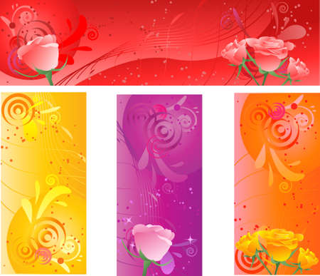 Banners with swirl floral multicolored design and roses in four color Vector