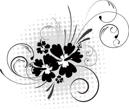 Hibiscus with swirls on halftone background in black and white color. Illustration