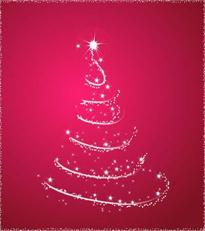 Background with one christmas tree in pink color Illusztráció