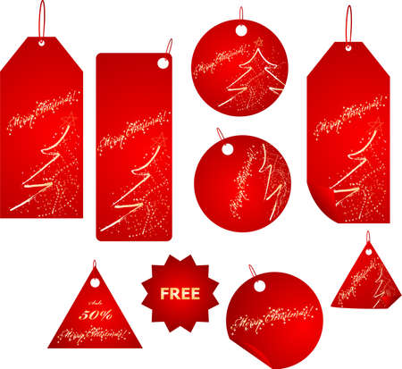 Big set of vector red badges with sparkling christmas design Stock Vector - 6048577