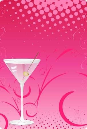 lineas verticales: Copa de Martini sobre fondo de semitono de color rosa con dise�o de remolino Vectores