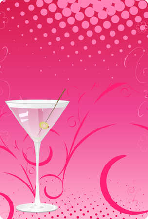 vertical lines: Martini glass on pink halftone background with swirl design