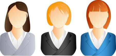 avatars: Tre diverse imprese donna icone Vettoriali
