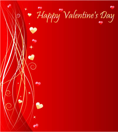sparkled: Valentines day background with wave design and hearts Illustration