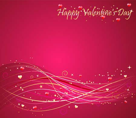 Valentines day pink background with nice wave design Illustration