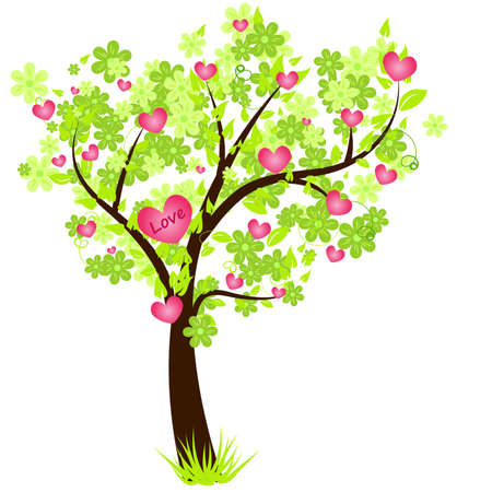 tree planting: Valentines day tree with flowers and hearts Illustration
