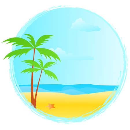 Round summer banner with grunge frame,palms, starfish Stock Vector - 7036446