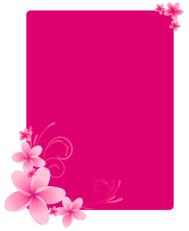 Pink frangipani frame with swirl ornament Vector