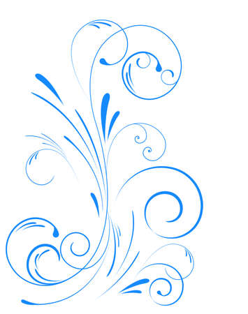 Blue floral swirl ornament Vector