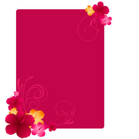 Frame with hibiscus flowers and swirl ornament Vector