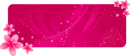 Pretty pink banner with tropical flowers Illustration