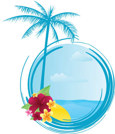 Round summer banner with palm tree and tropical flowers Vector