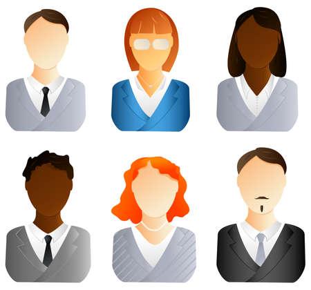 ingegneri: Set di icone di persone di affari. Uomini e donne