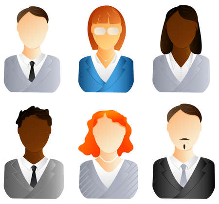 Set of business people icons. Men and women Vector