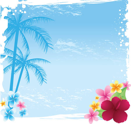 hawaiian culture: Grunge tropical banner with palms and tropical flowers