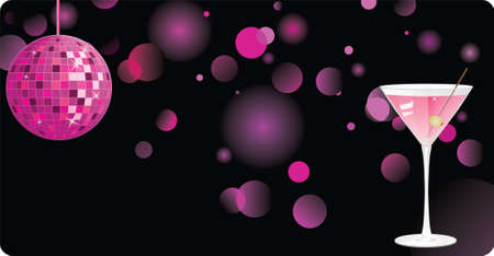disco symbol: Disco shiny background with martini and pink disco ball