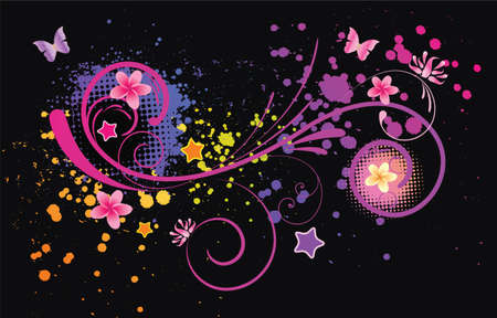 Grunge colorful abstract background with decorative elements Vector