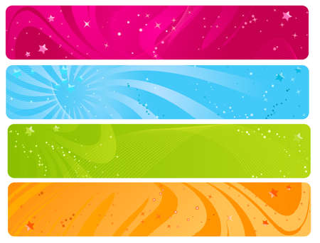 sparkled: Colorful web banners with wave design and glossy stars