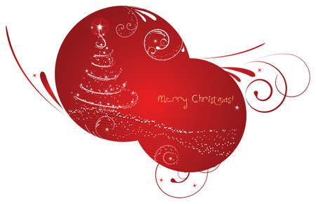 Rounded christmas background with abstract ornament and christmas tree Vector