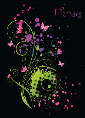Floral ornament with grunge multicolor splashes on black background Vector