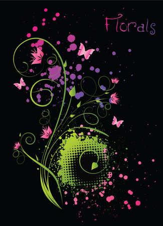 funky: Floral ornament with grunge multicolor splashes on black background Illustration