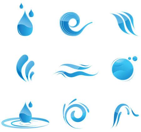 fresh water splash: Gl�nzende blaue Wasser-Symbole