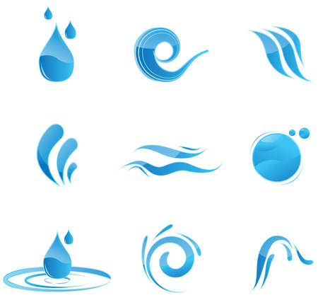 Glossy blue water symbols Vector