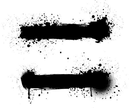 stroke: Grunge black banners for yours designs Illustration