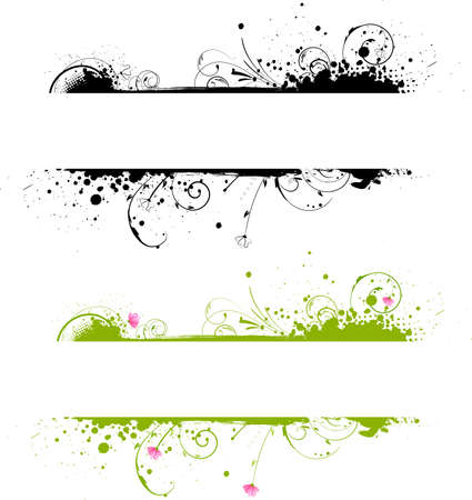 variant: Grunge banner frame in black color and colorful variant Illustration